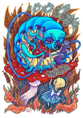 The Blue catepillar art print